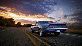 sunset, road, camaro - wallpapers, picture
