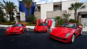 building, ferrari, red, ferrari, palm trees - wallpapers, picture