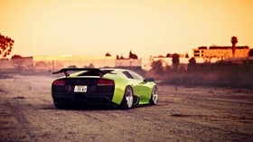 green, bright, city, lamborghini - wallpapers, picture