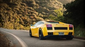 yellow, road, lamborghini - wallpapers, picture
